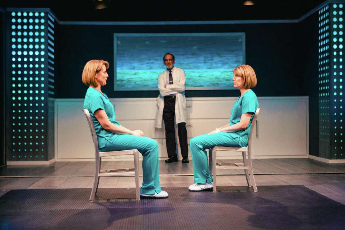 """Julie Cardia, John Feltch and Janna Cardia in Stages Repertory Theatre's world premiere production of """"Replica."""""""