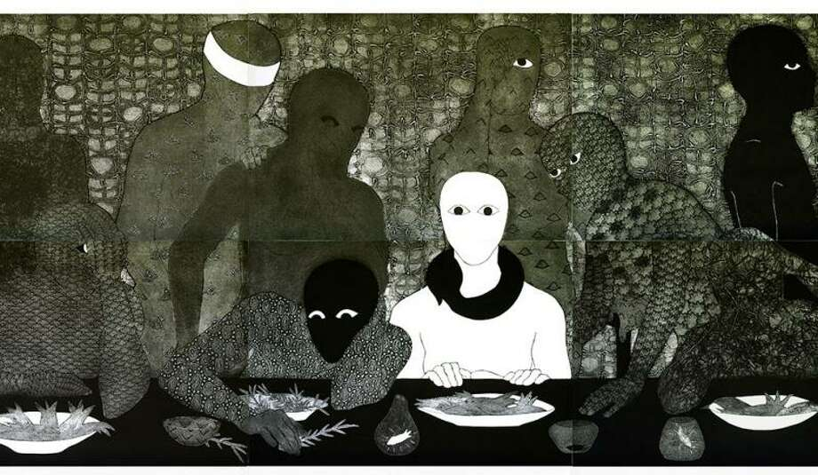 """""""La cena (The Supper)"""" is among collographs in """"Nkame: A Retrospective of Cuban Printmaker Belkis Ayón,"""" opening Saturday at the Station Museum of Contemporary Art. Photo: Station Museum Of Contemporary Art / Station Museum Of Contemporary Art"""