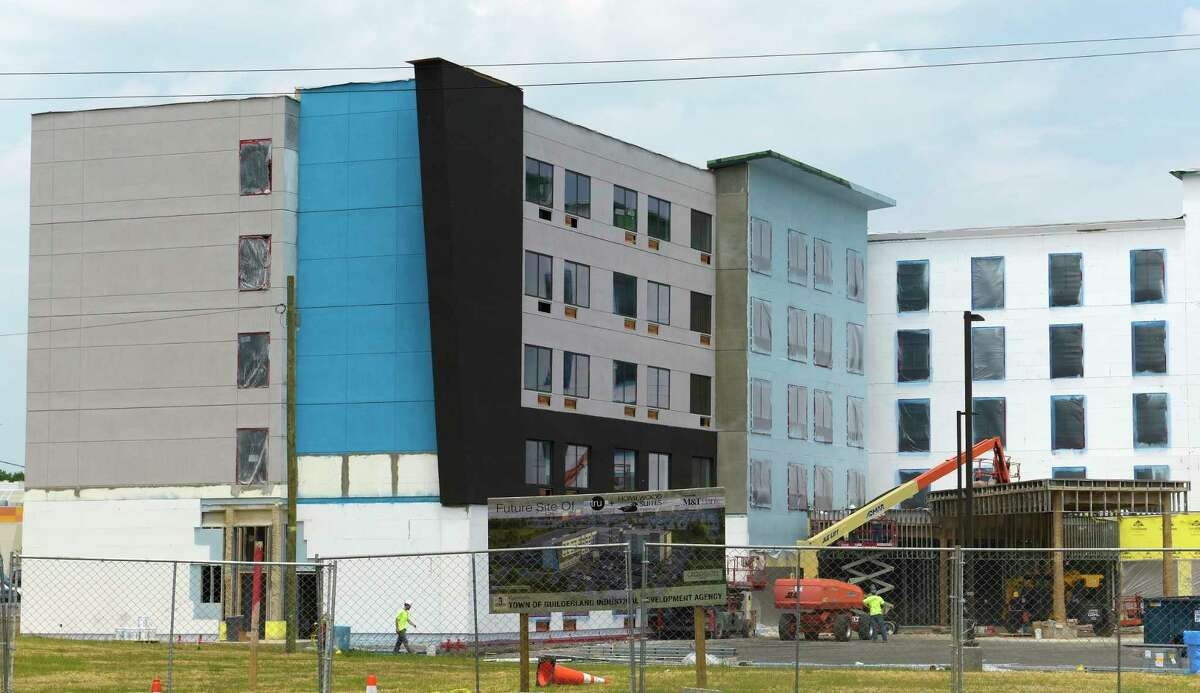 Construction work continues on the Tru by Hilton hotel on Western Ave. near Crossgates Mall on Wednesday, May 30, 2018, in Albany, N.Y. (Paul Buckowski/Times Union)
