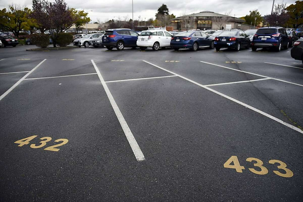Empty parking spots are seen at the North Berkeley BART station in Berkeley, CA, on Friday March 2, 2018.