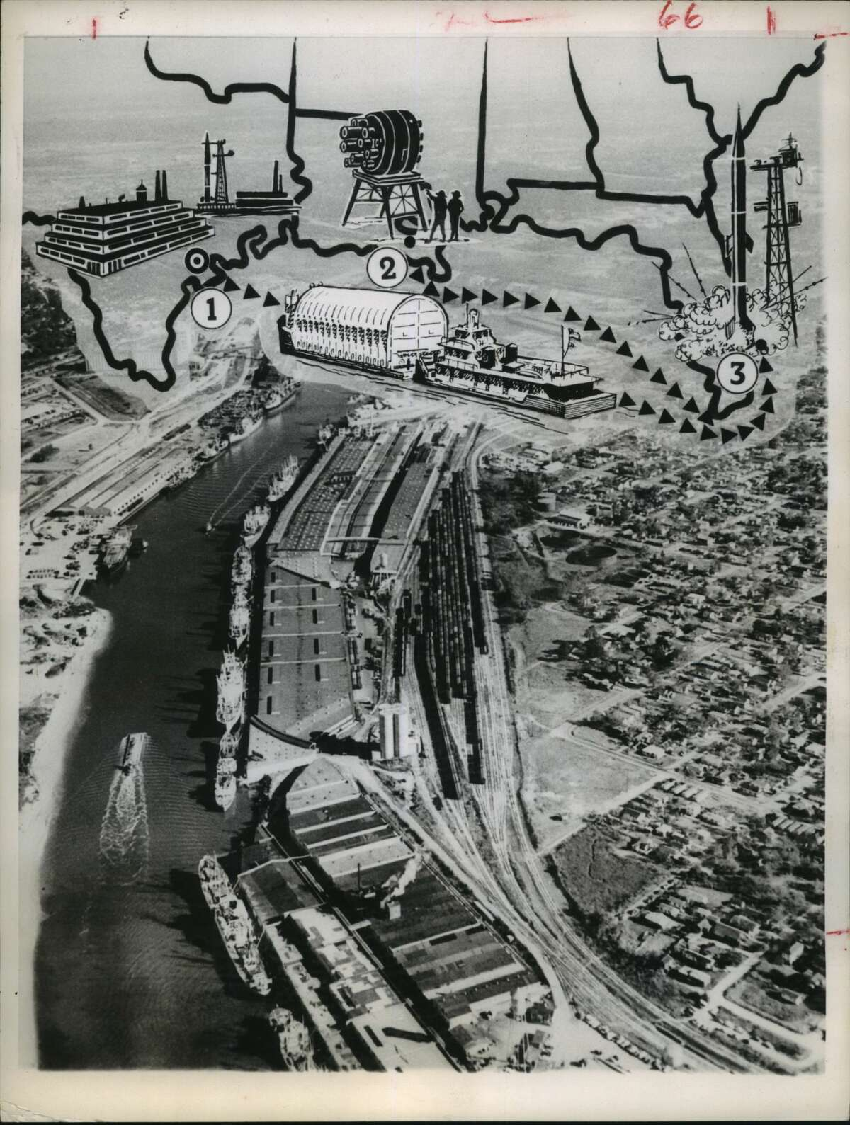 February 1962: The Houston Ship Channel provides a background for a picture map tracing future movement of space vehicles designed to reach the moon.