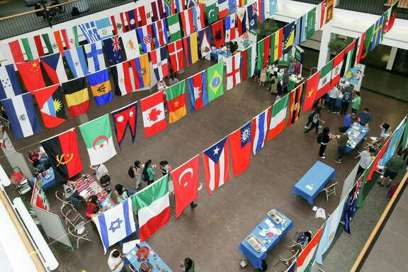November 8, 2017:  Students visit information booths hosted by the Global Expo at the University of Houston-Clear Lake in Houston, Texas. (Leslie Plaza Johnson/Freelance