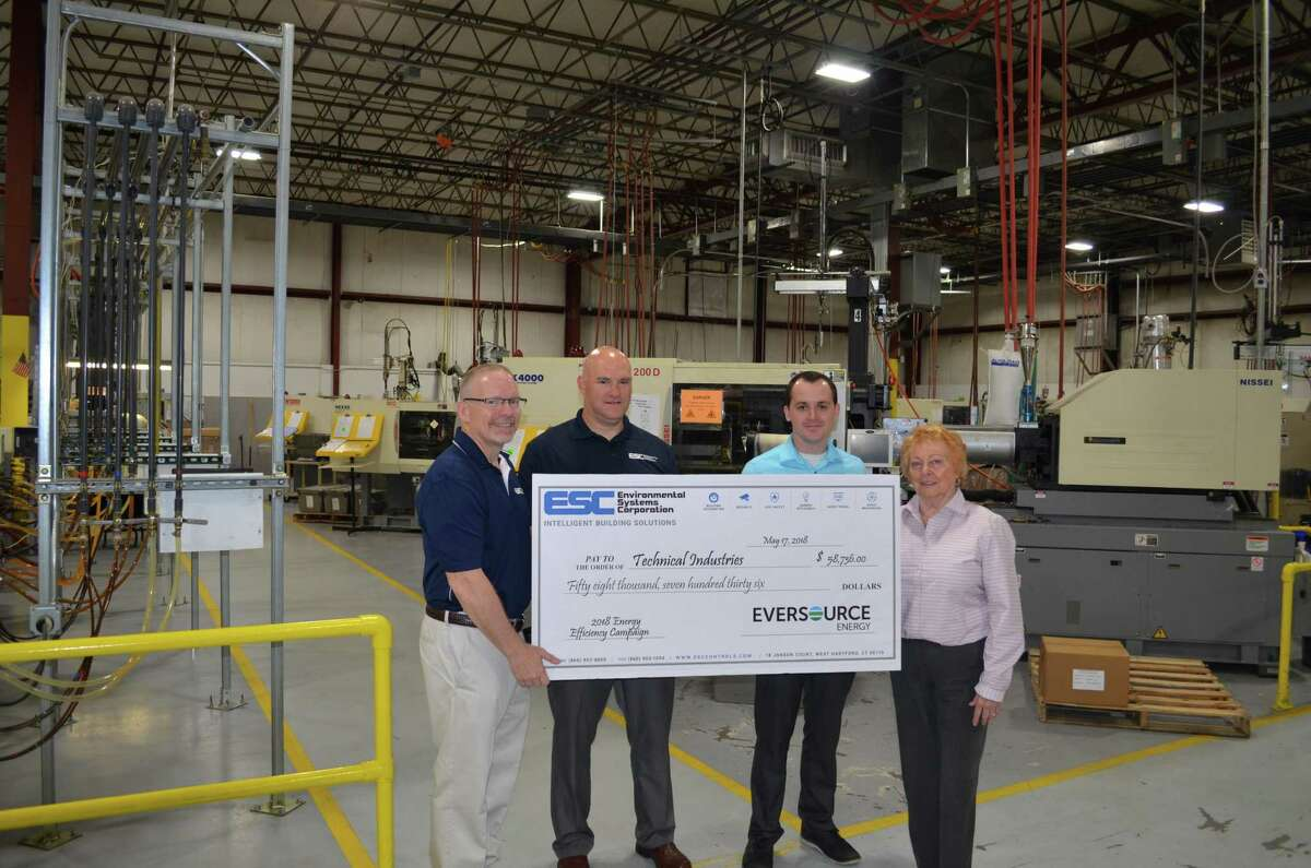 On May 17, representatives from Environmental Systems Corp. (ESC) and Eversource Energy presented Technical Industries Inc. in Torrington with a rebate check of $58,736 for their participation in a recent energy efficiency incentive program. The energy upgrades totaling at $117,472 that Technical Industries chose to invest in included LED lighting, an Air Compressor and Dryer and air leak repairs. After the 50 percent incentive, Technical Industries paid $58,736 out of pocket. In addition to better lighting and the new mechanical systems?' improved reliability, Technical Industries will enjoy long term savings on future energy bills. Annual savings on energy bills are now estimated to be $23,106, according to a written statement.