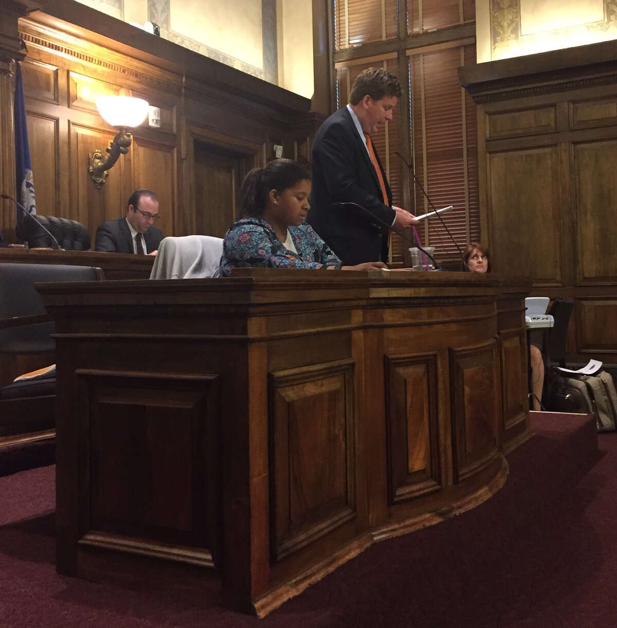 Capital Region Chamber President and CEO Mark Eagan presents the chamber's case against the proposed paid sick leave law during a public hearing at the Albany County Legislature on Tuesday, May 29, 2018. (Photo by Amanda Fries)