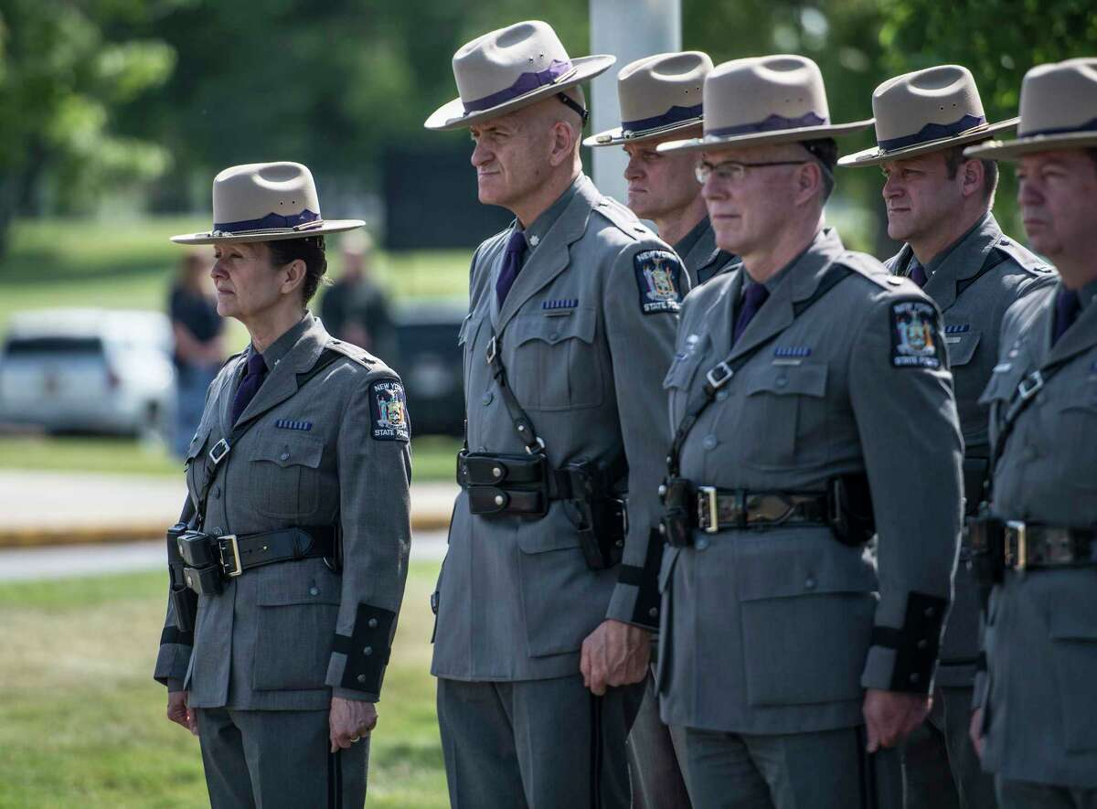 Members of the New York State Police attend the Annual Memorial and Awards Ceremony held at the training academy Wednesday May 30, 2018 in Albany, N.Y. (Skip Dickstein/Times Union)