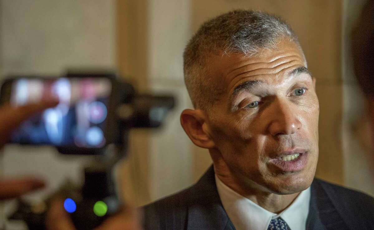 Former Yankee manager Joe Girardi is questioned about sports related subjects Wednesday May 30, 2018 in the halls of the State Capitol in Albany, N.Y. (Skip Dickstein/Times Union)