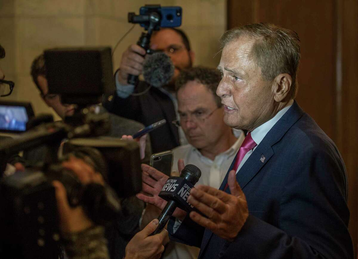 Senator John Bonacic, Chair of the Racing, Gaming and Wagering Committee is surrounded by media and questioned about sports betting Wednesday May 30, 2018 at the State Capitol in Albany, N.Y. (Skip Dickstein/Times Union)
