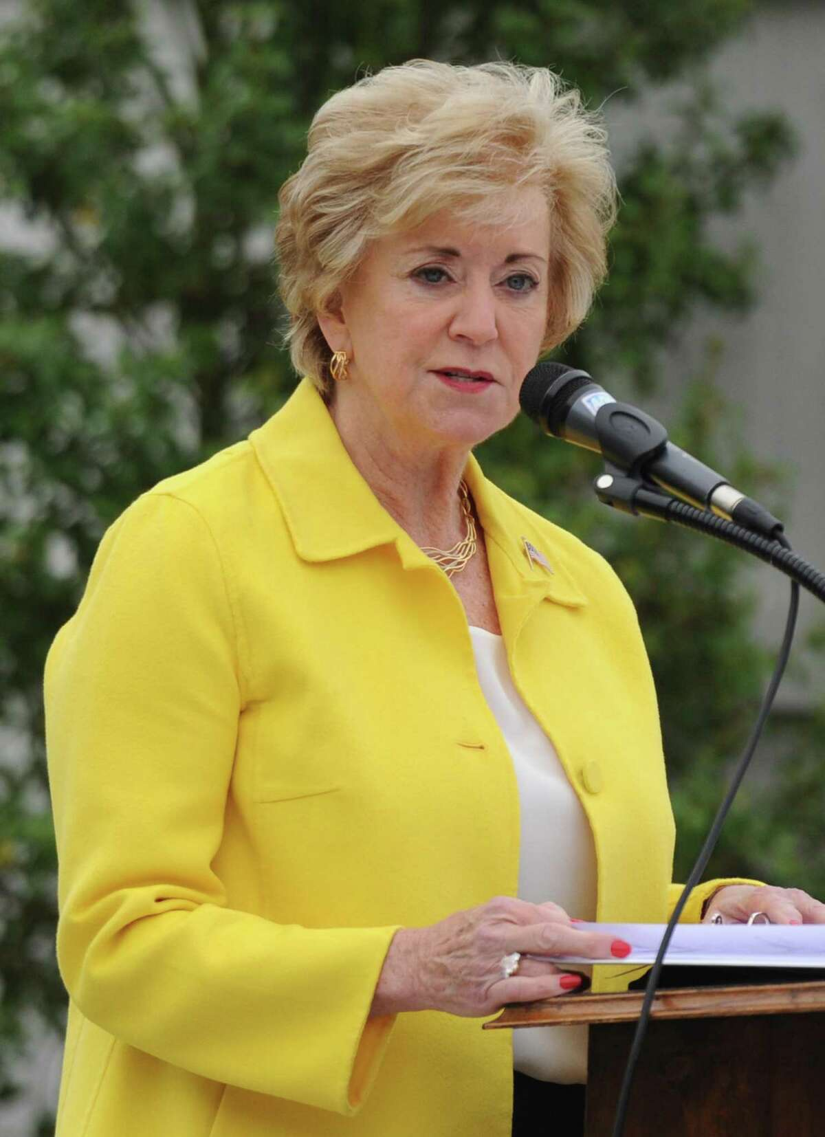 Linda McMahon, Administrator of the Small Business Administration, speaks at the 2018 Memorial Day Dockside Ceremony at Indian Harbor Yacht Club in Greenwich, Conn. Monday, May 28, 2018. Presented by American Legion Post 29, the ceremony featured Medal of Honor winner U.S. Army Captain Paul Bucha, a Vietnam veteran, as the keynote speaker.