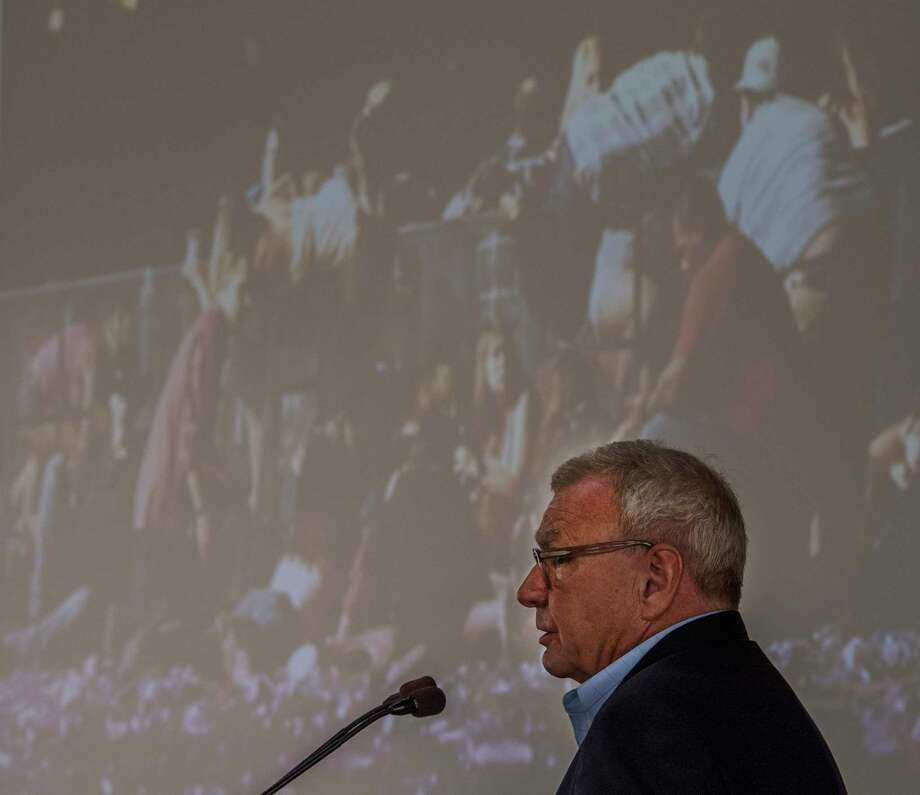 Dr. John Fildes, Union College Class of 77' and a surgeon in Las Vegas, treated more than 100 festival goers who were wounded by a gunman in October speaks to a gathering at the Union College Nott Center Wednesday May 30, 2018 at the State Capitol in Schenectady, N.Y.  (Skip Dickstein/Times Union) Photo: SKIP DICKSTEIN, Albany Times Union / 20043933A