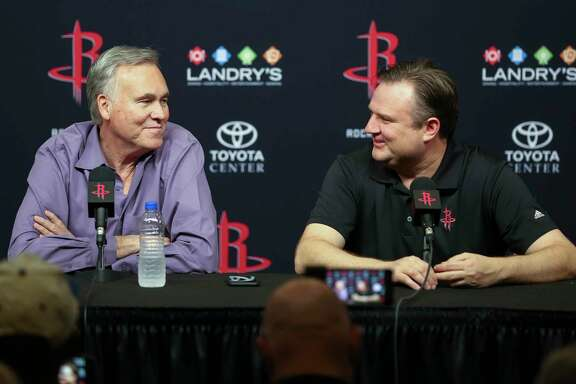 Houston Rockets head coach Mike D'Antoni, left, and general manager Daryl Morey speak at an end of the season press conference at the Toyota Center Wednesday, May 30, 2018 in Houston.
