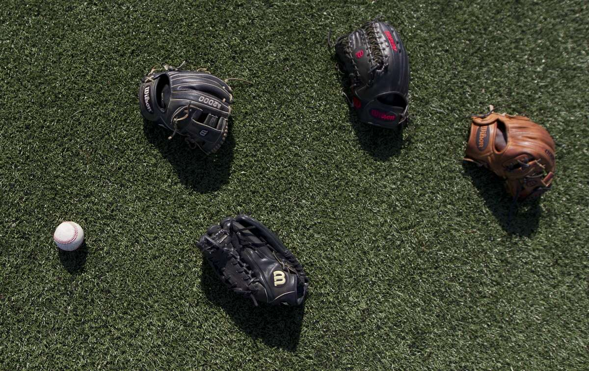 Detail of baseball gear before Game 2 of a Region II-6A semifinal series against Klein at Sam Houston State University, Friday, May 25, 2018, in Huntsville.