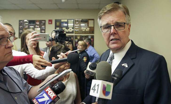 Lt. Governor Dan Patrick answers reporter's questions after Gov. Greg Abbott reveals his school safety proposals at a press conference at the Hays County Law Enforcement Center in San Marcos on May 30, 2018.