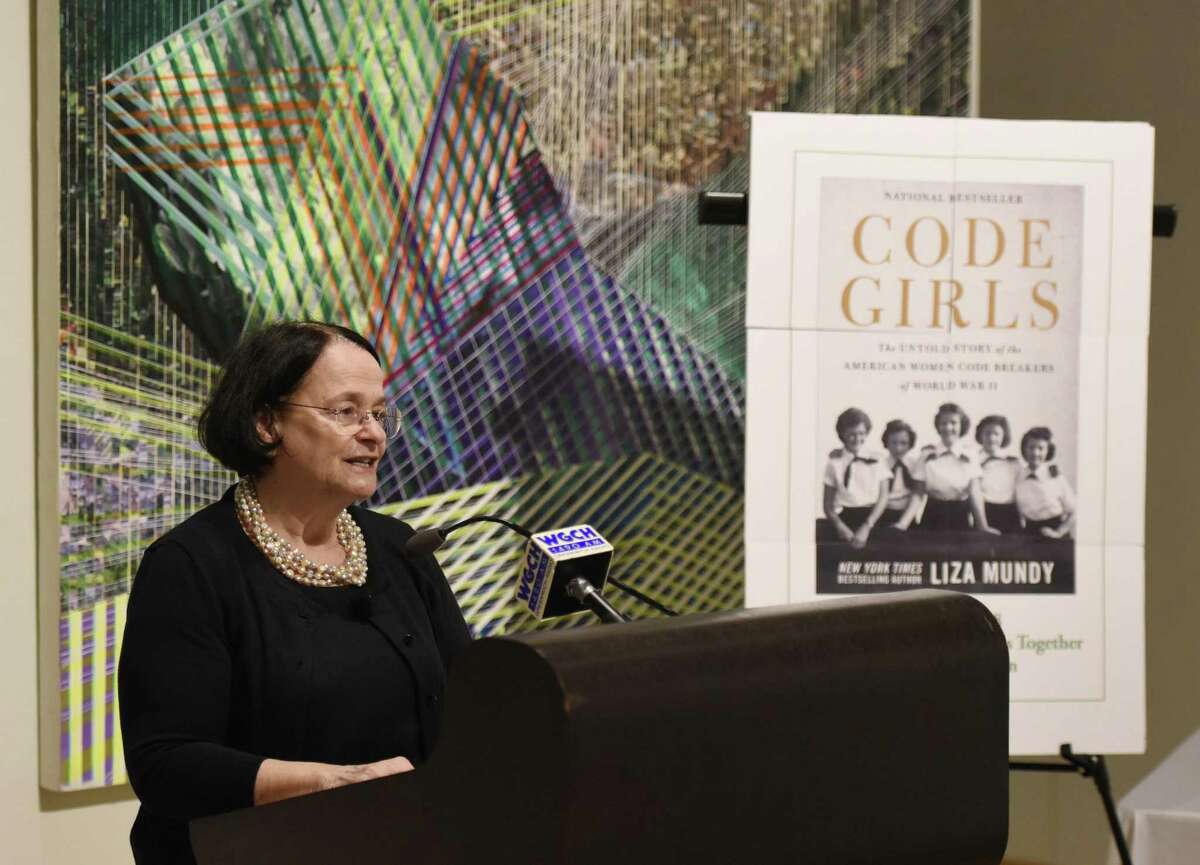 """Greenwich Library Director Barbara Ormerod-Glynn speaks at the revealing of the Greenwich Reads Together book at Greenwich Library in Greenwich, Conn. Wednesday, May 30, 2018. The 2018 selection was """"Code Girls,"""" by Liza Mundy, which details the contributions of the women who served as codebreakers during World War II. Their meticulous efforts shortened the war and saved thousands of lives, but a strict vow of secrecy nearly erased their efforts from history."""