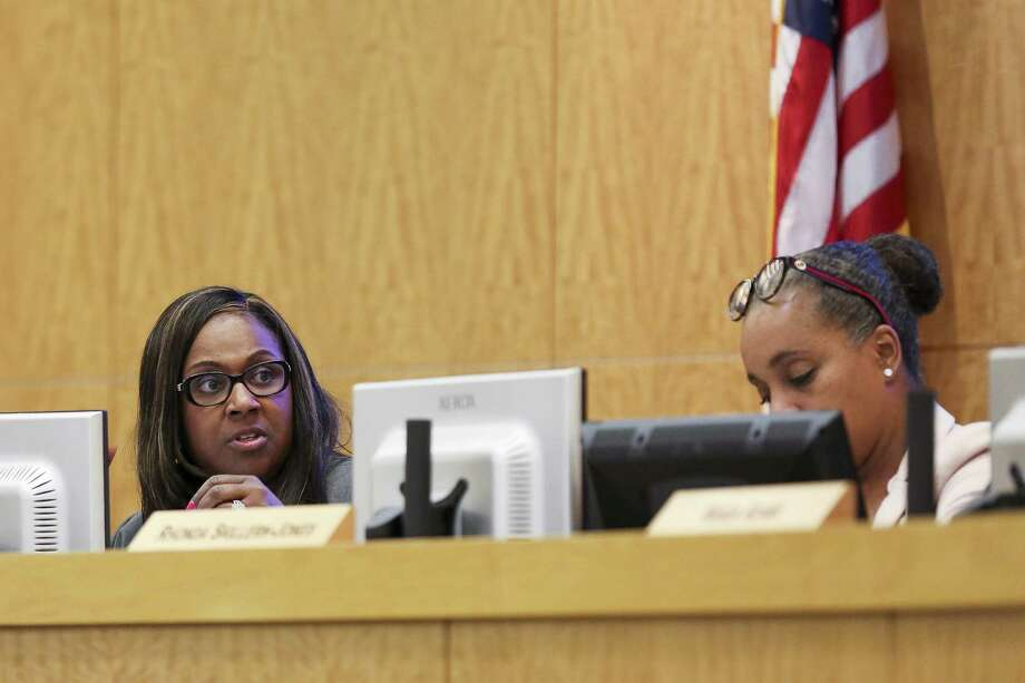 Houston ISD interim superintendant Grenita Lathan talks during an agenda review meeting Monday, April 30, 2018 in Houston. The board did not vote to send a plan to the Texas Education Agency by the Monday deadline, which could have prevented the state takeover or closure of 10 long struggling schools. (Michael Ciaglo / Houston Chronicle) Photo: Michael Ciaglo, Houston Chronicle / Houston Chronicle / Michael Ciaglo