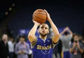 OAKLAND, CA - MAY 30:  Stephen Curry #30 of the Golden State Warriors works out during the 2018 NBA Finals Media Day at ORACLE Arena on May 30, 2018 in Oakland, California. Game One between the Warriors and the Cleveland Cavaliers is tomorrow night. NOTE TO USER: User expressly acknowledges and agrees that, by downloading and or using this photograph, User is consenting to the terms and conditions of the Getty Images License Agreement.  (Photo by Ezra Shaw/Getty Images)
