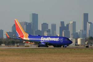 A Southwest Airlines Boeing 737 taxis after landing at Houston's Hobby Airport.