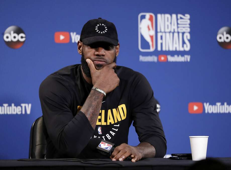 Cleveland Cavaliers' LeBron James fields questions before an NBA basketball practice, Wednesday, May 30, 2018, in Oakland, Calif. The Cavaliers face the Golden State Warriors in Game 1 of the NBA Finals on Thursday in Oakland. (AP Photo/Marcio Jose Sanchez) Photo: Marcio Jose Sanchez, Associated Press