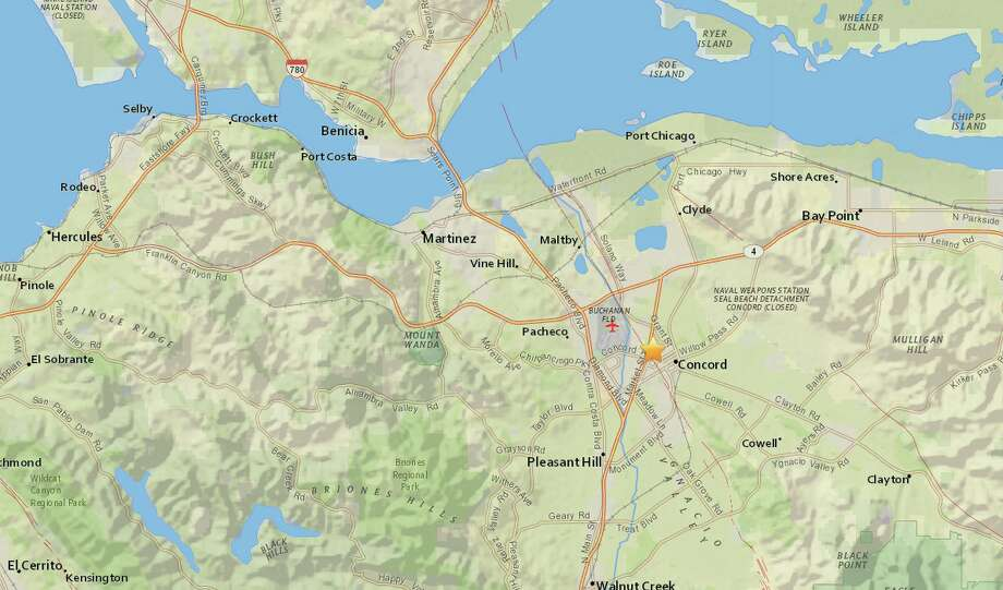 An earthquake with a preliminary 3.1-magnitude struck near Concord, Calif. Wednesday afternoon. Photo: Courtesy United States Geological Survey
