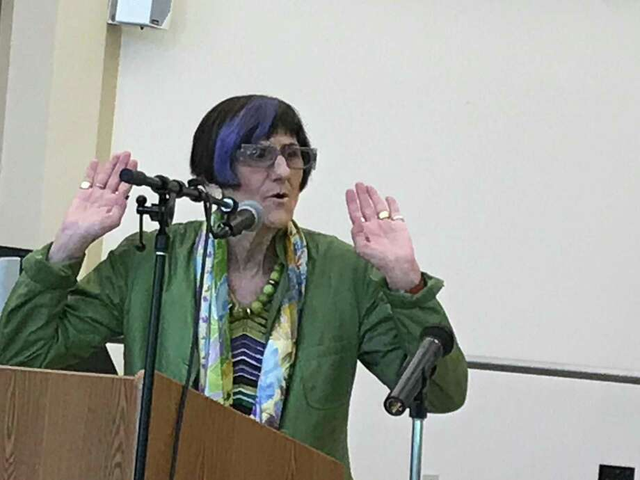 U.S.  Rep. Rosa DeLauro, D-3, gestures while speaking to a crowd at the Wallingford Senior Center  Wednesday. Photo: Luther Turmelle / Hearst Connecticut Media