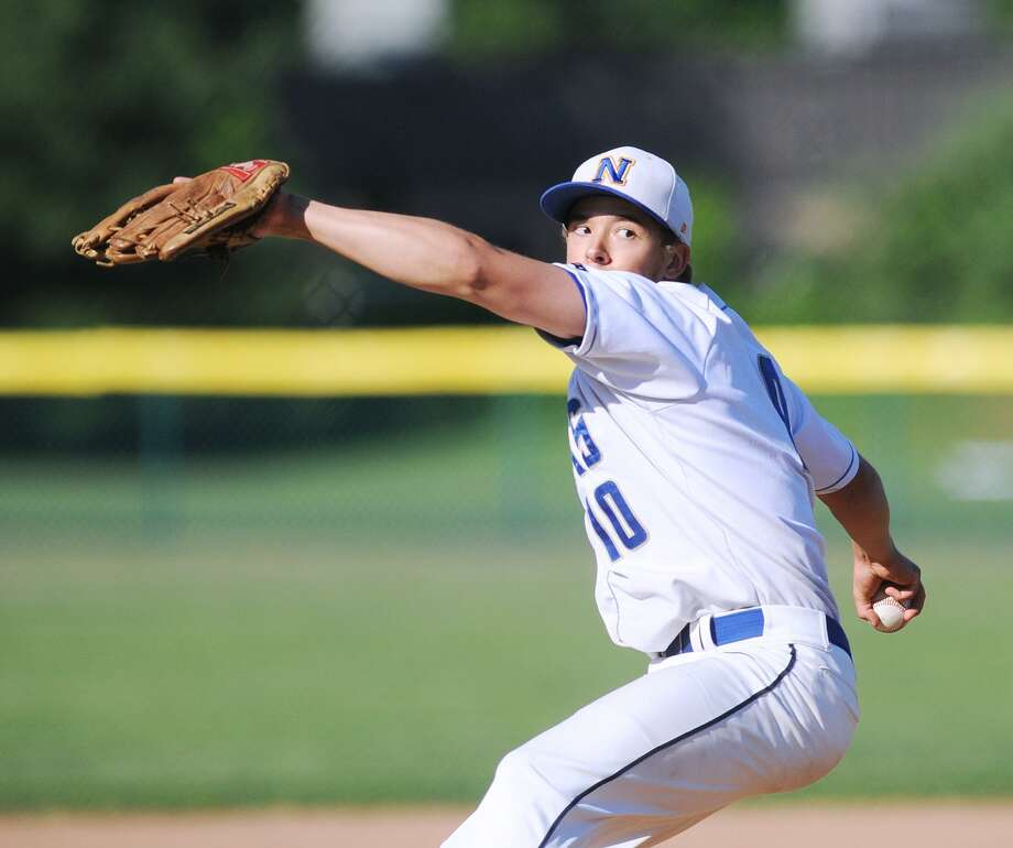 Newtown's Orlando Swift pitches during the Class LL baseball playoff game between Newtown High School and Greenwich High School at Newtown, Conn., Wednesday, May 30, 2018. Photo: Bob Luckey Jr. / Hearst Connecticut Media / Greenwich Time