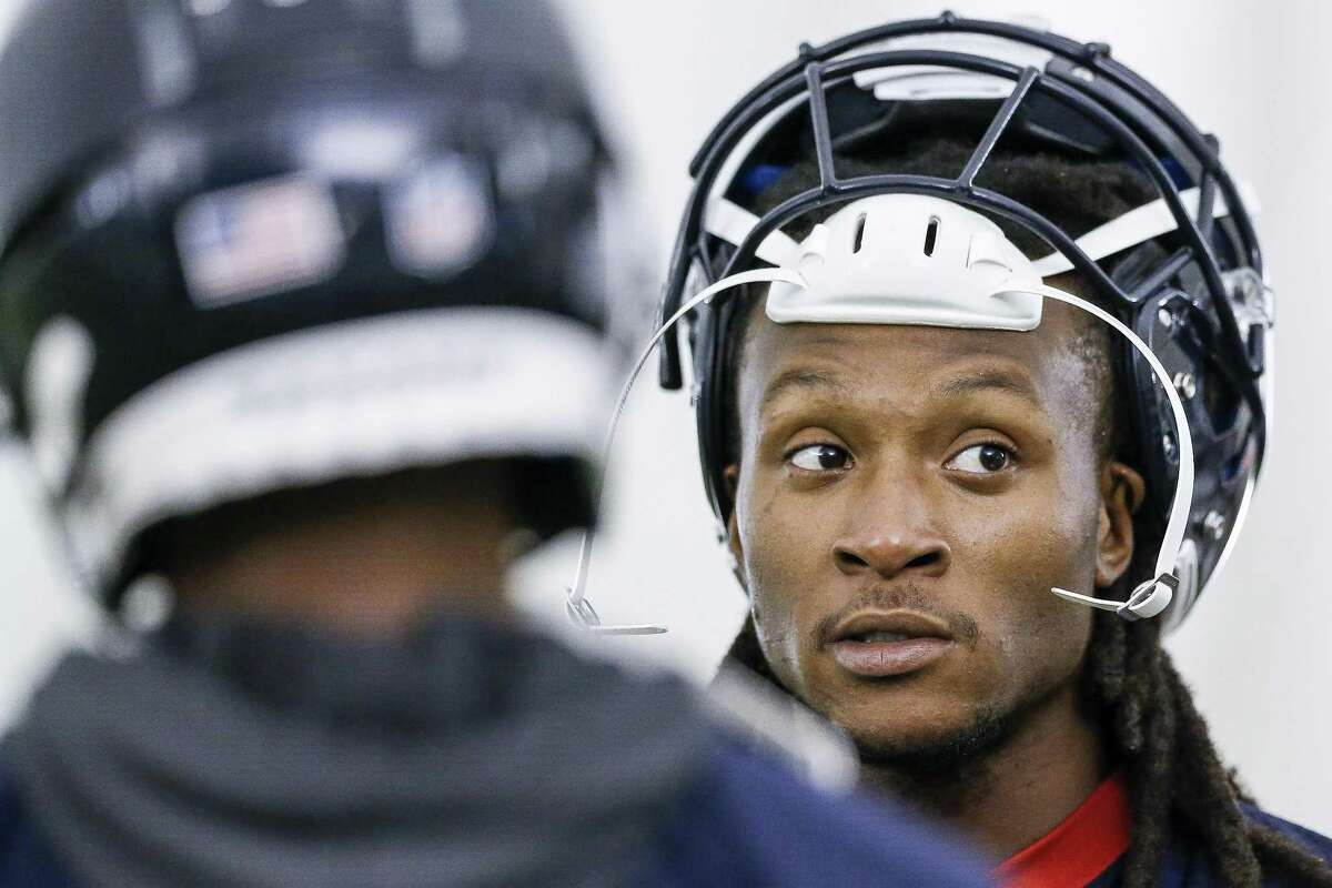Houston Texans wide receiver DeAndre Hopkins (10) talks to teammates while running through drills at the Texans Practice Facility Wednesday, May 30, 2018 in Houston. (Michael Ciaglo / Houston Chronicle)