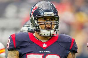 09 January 2016: Houston Texans guard Brandon Brooks (79) during the NFL Wild Card game between the Kansas City Chiefs and Houston Texans at NRG Stadium in Houston, TX. (Photograph by Leslie Plaza Johnson/Icon Sportswire) (Photo by Leslie Plaza Johnson/Icon Sportswire/Corbis via Getty Images)