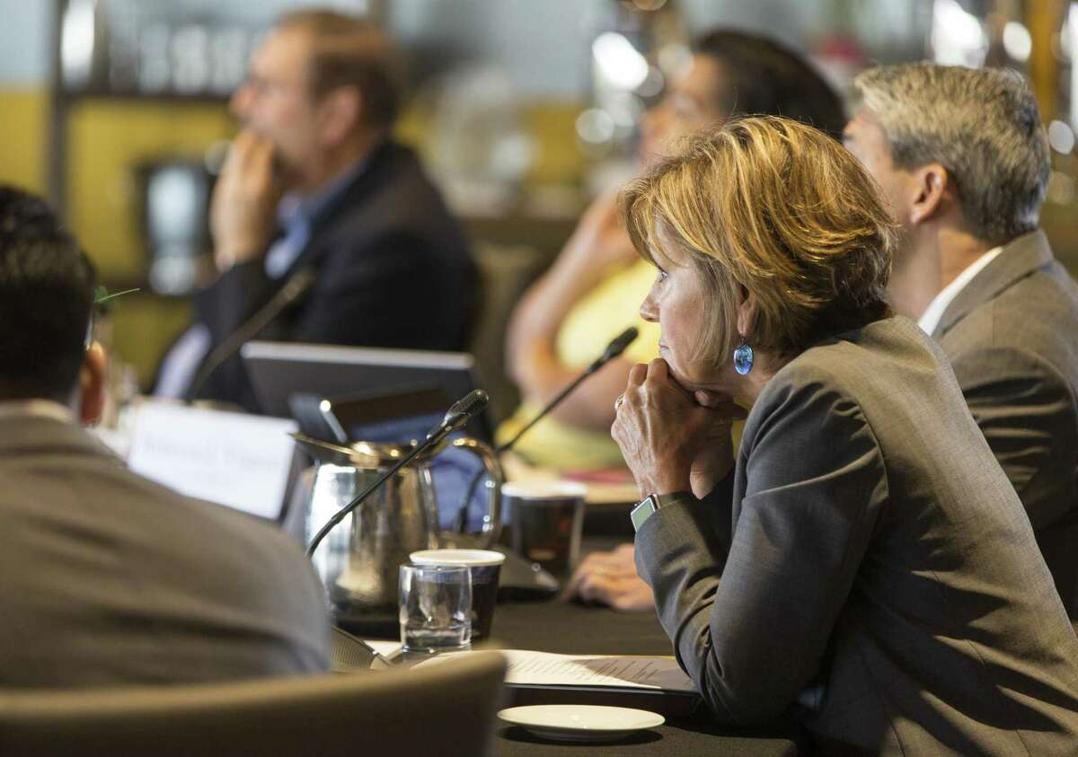 San Antonio city manager Sheryl Sculley listens Wednesday, May 30, 2018 at the Henry B. Gonzalez Convention Center to staff presentations during the city council's annual goal-setting session for the city budget.