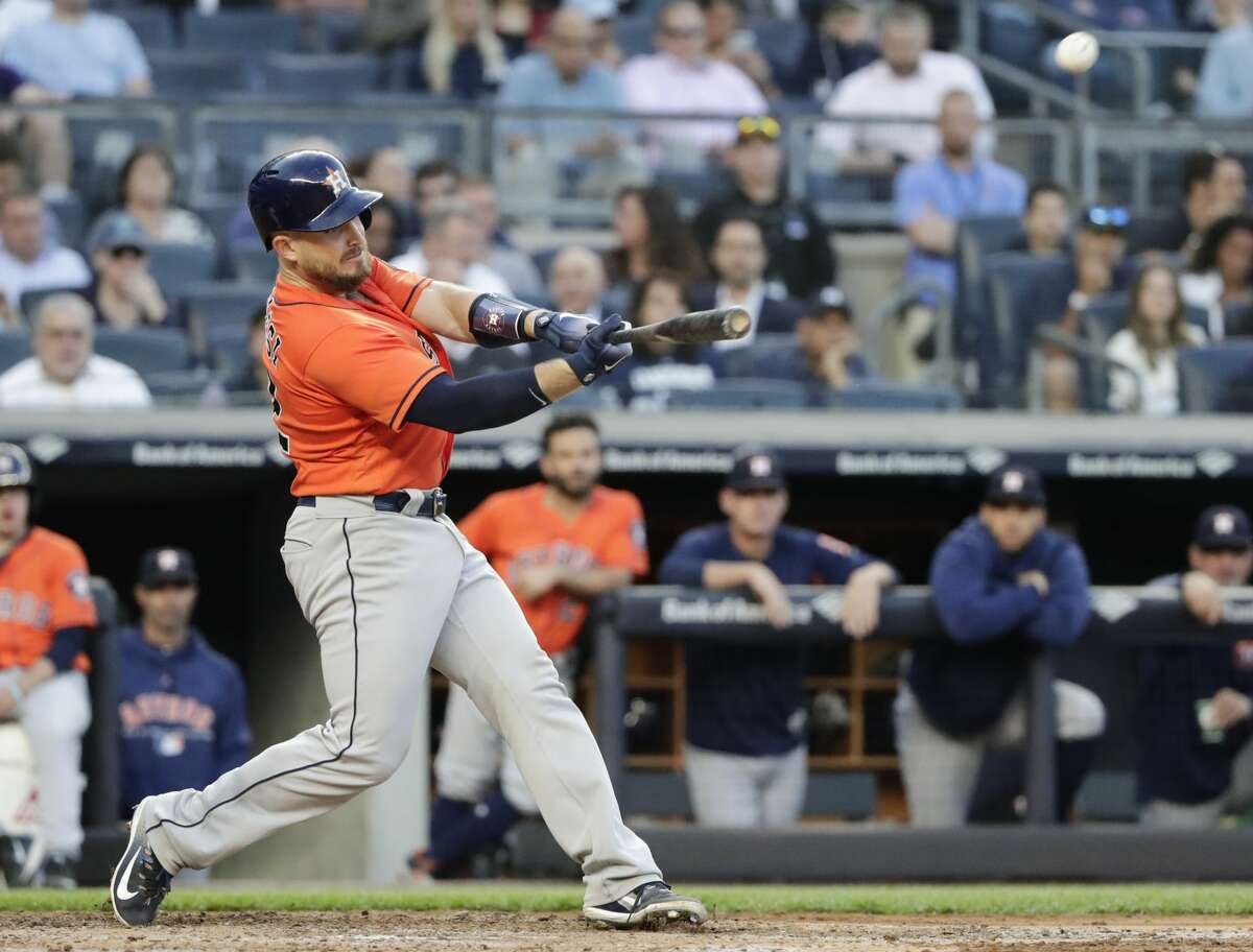 Houston Astros' Max Stassi hits a two-run home run during the fifth inning against the New York Yankees in a baseball game Wednesday, May 30, 2018, in New York. (AP Photo/Frank Franklin II)