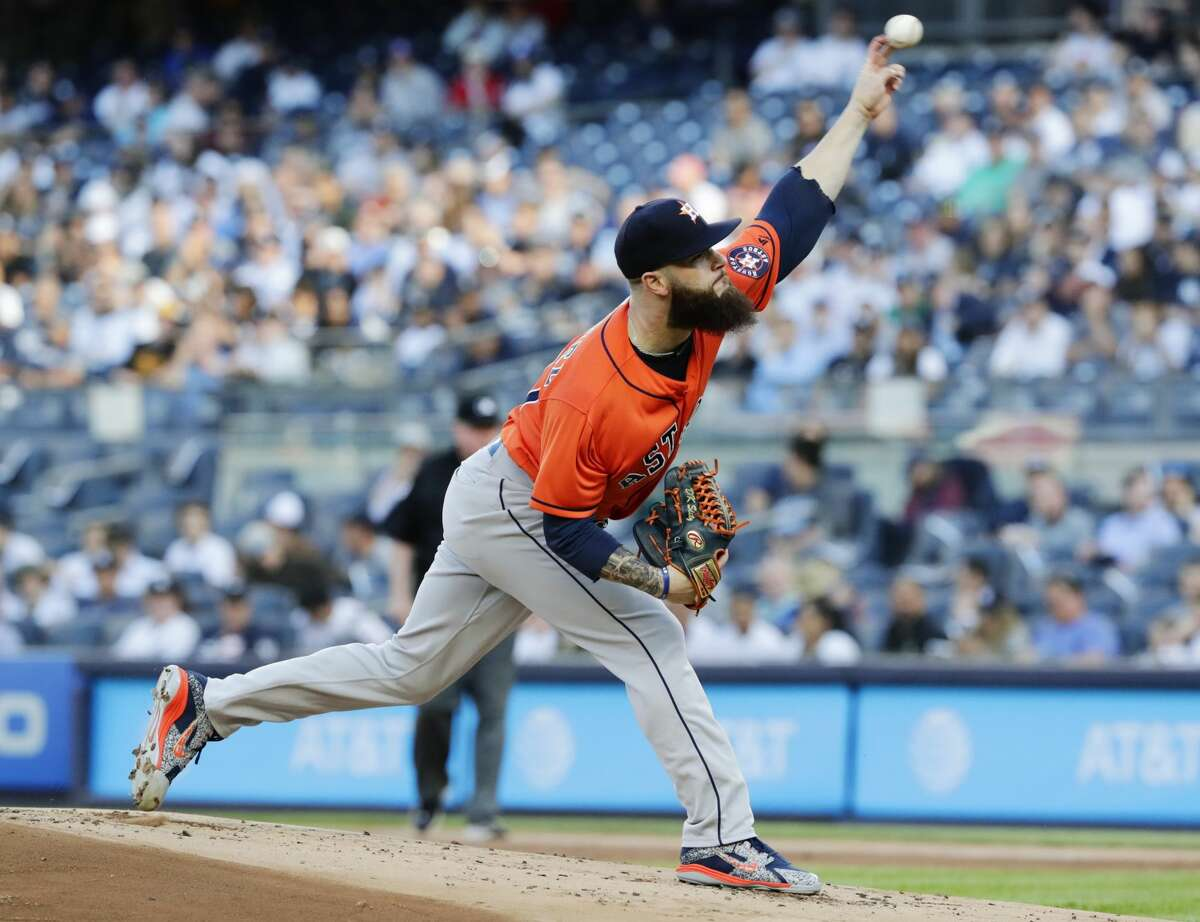 Houston Astros' Dallas Keuchel delivers a pitch during the first inning of the team's baseball game Houston Astros on Wednesday, May 30, 2018, in New York. (AP Photo/Frank Franklin II)