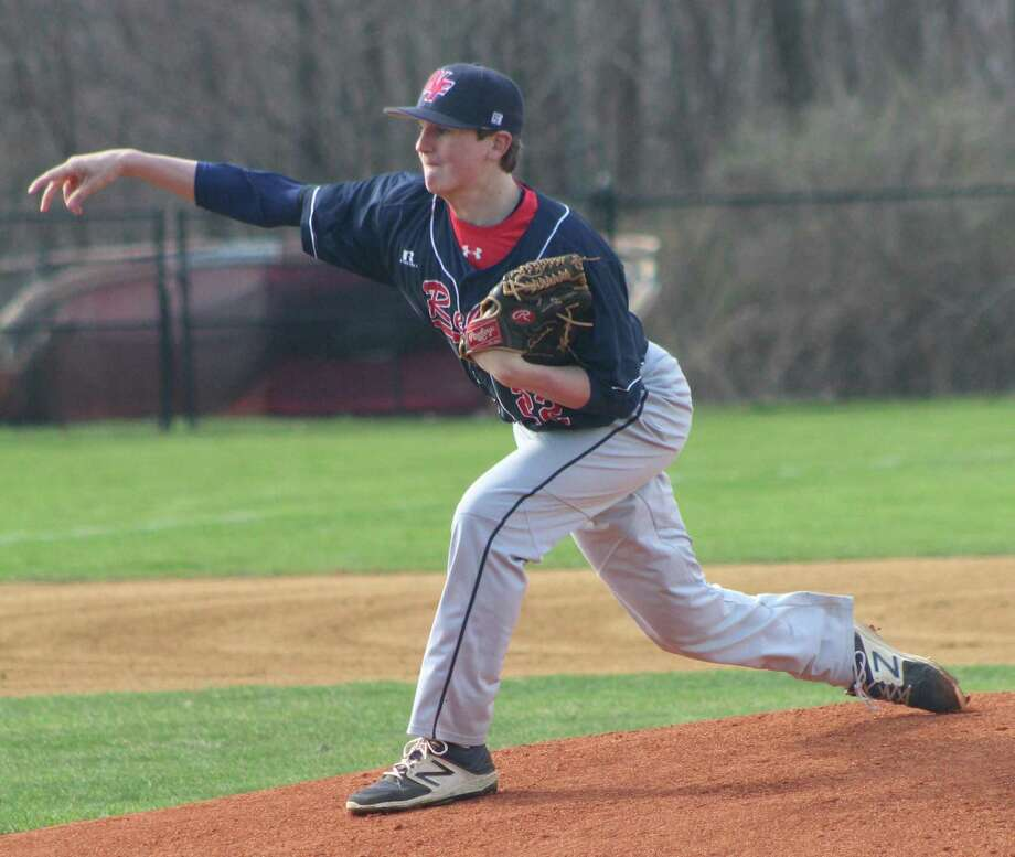 New Fairfield's Jake Smith pitched a complete game in the baseball game against Masuk at New Fairfield High School April 26, 2018. Photo: Richard Gregory / Richard Gregory