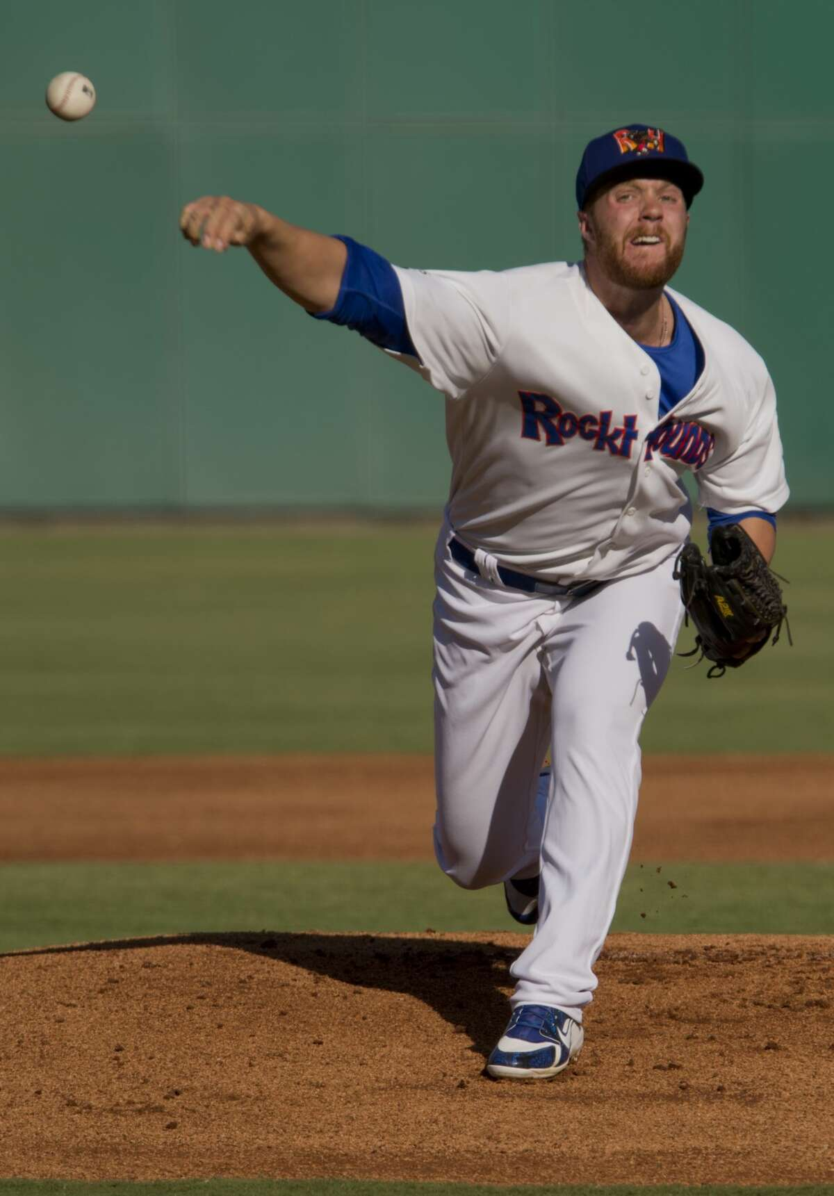 Midland RockHounds' starting pitcher Logan Shore delivers a pitch 05/30/18 as they take on the Arkansas Travelers at Security Bank Ballpark. Tim Fischer/Reporter-Telegram