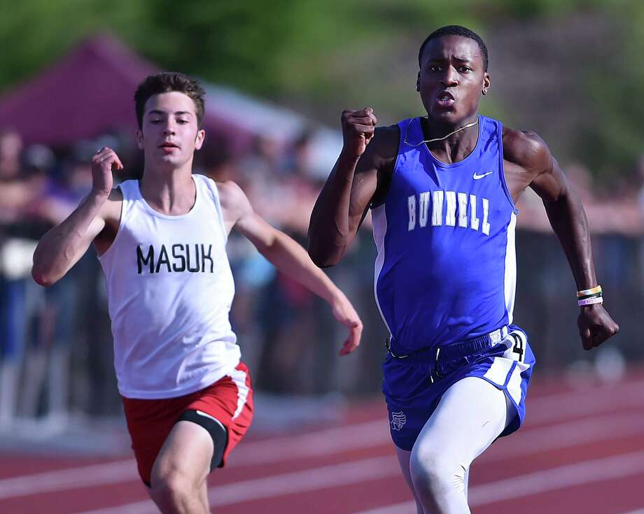 Bunnell - Stratford senior Elijah Henry places second in 11.07 at the CIAC class MM track & field championships, Wednesday, May 30, 2018, at Rosek-Skubel Stadium at Middletown High School. Photo: Catherine Avalone, Hearst Connecticut Media / New Haven Register