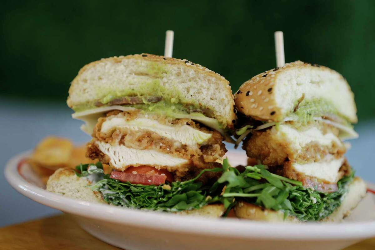 A fried chicken and jack sandwhich is shown at East Hampton Sandwich Co.