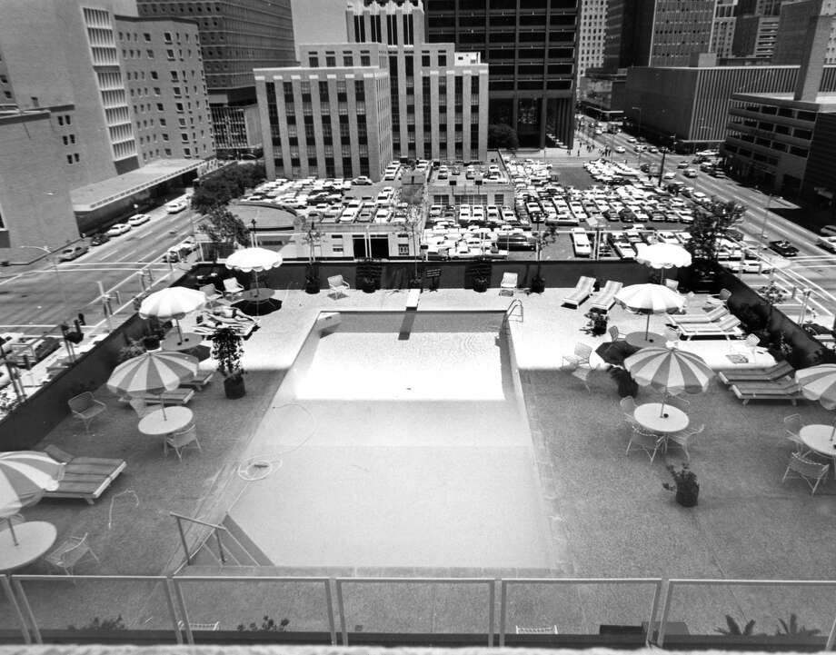 New pool at the Sheraton-Lincoln. According to the Post, the pool is surrounded by big buildings and binoculars.  The pool at the Sheraton-Lincoln Hotel in Houston. Photo: Houston Post Files