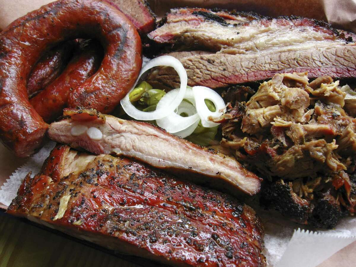 Pork ribs, sausage, brisket and pulled pork from Texas 46 BBQ.