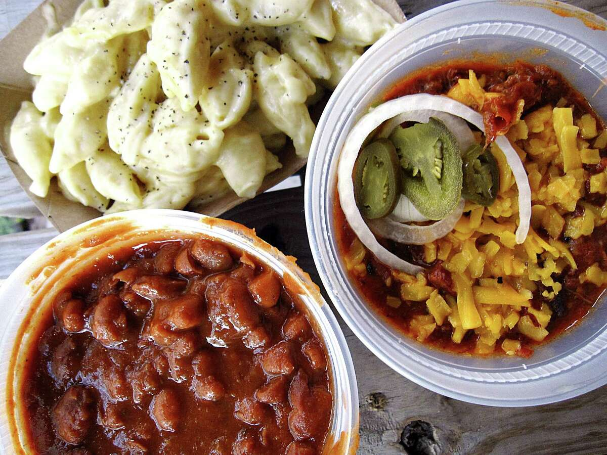 Cowboy beans, TX46 chili and mac and cheese from Texas 46 BBQ on Sun Valley Drive off Texas 46 in Spring Branch.