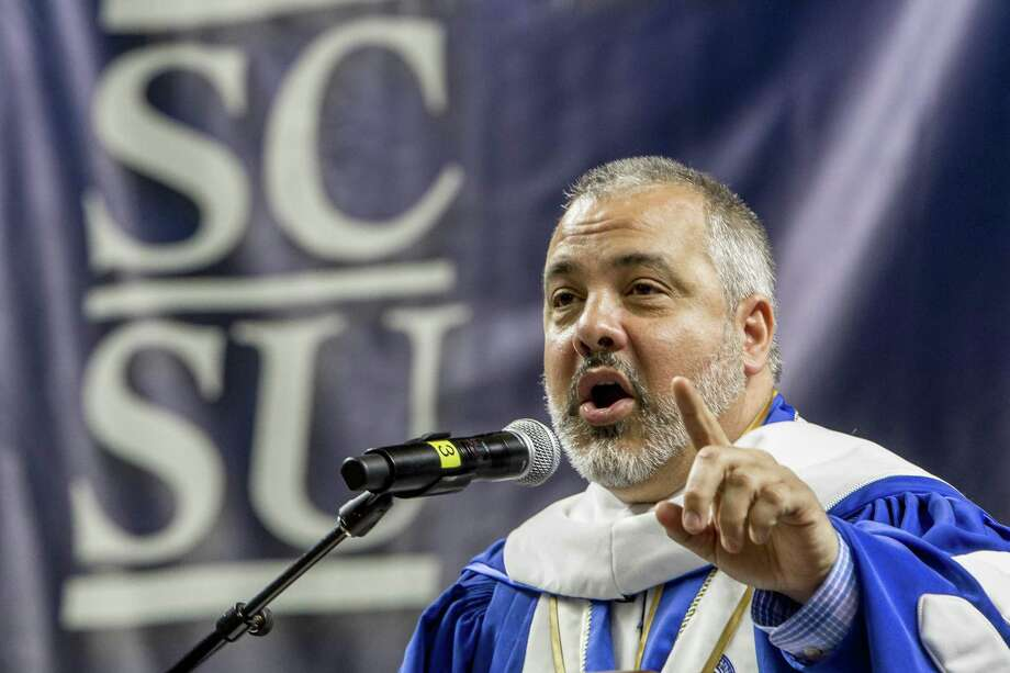 Southern Connecticut State University President, Joe Bertolino addresses the graduates, faculty, family and friends gathered for the graduation ceremony at the Webster Bank Arena in Bridgeport, Conn. on Friday May 19, 2017. Photo: Johnathon Henninger / For Hearst Connecticut Media / Connecticut Post Freelance
