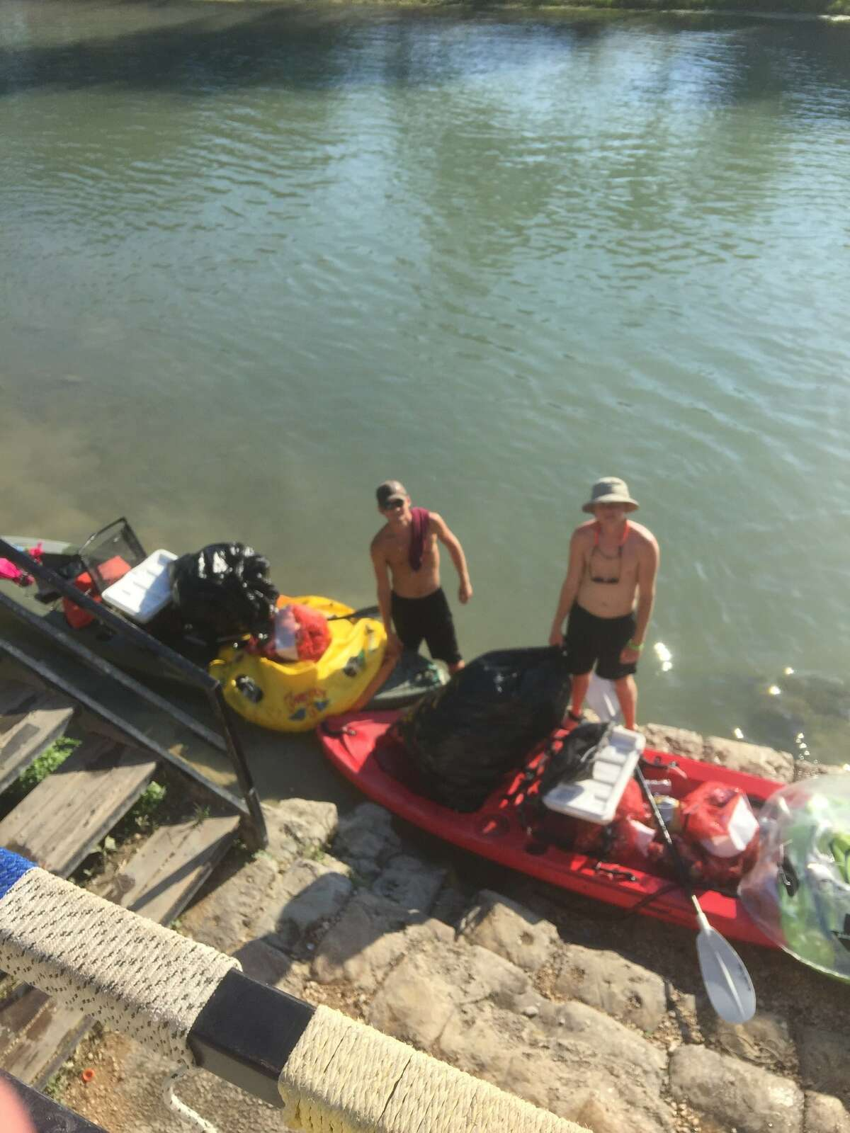Richard Lawrence, with Texas State Tubes, shared photos showing the San Marcos River cleanup on May 29, 2018, following Memorial Day Weekend. He told mySA.com the cans seen in the video shared by Tom Goynes are no longer in the water.