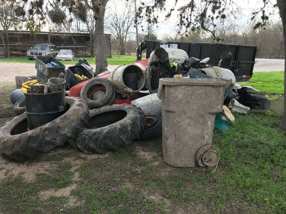 Tom Goynes organizes trash pickups on the San Marcos River throughout  the year, with the largest cleanup happening in March. This is the  garbage collected in 2018. Photo: Courtesy, Tom Goynes