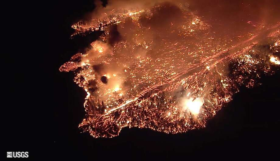 The lava flow is covering about six football fields an hour, said a U.S. Geological Survey scientist. Photo: U.S. Geological Survey / Associated Press