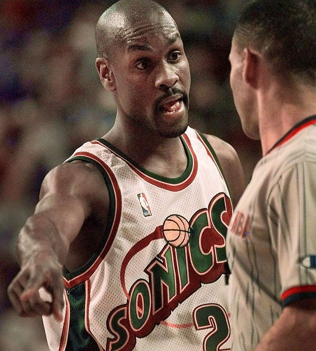 Seattle SuperSonics' Gary Payton has words with an official in the first quarter against the Cleveland Cavaliers Tuesday on Jan. 18, 2000 in Seattle.