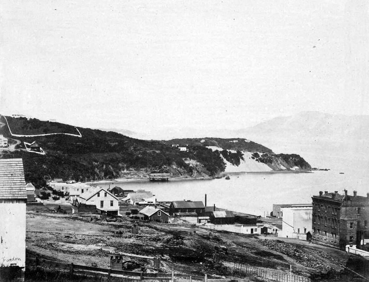 1855: A view of North Beach from Telegraph Hill. Black Point is in the middle distance, with hills of Marin County in distance, at right. Courtesy ofOpenSFHistory.org.