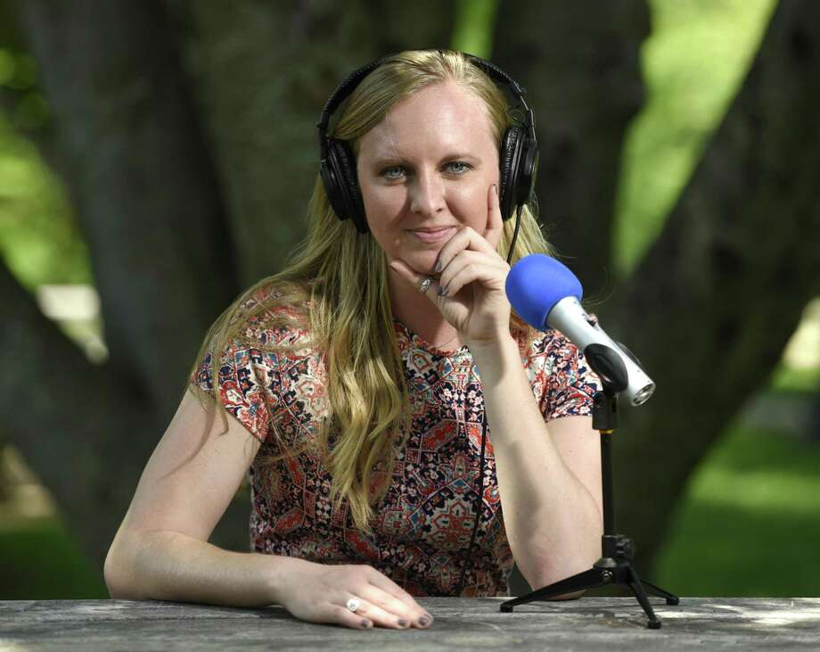 Hearst Connecticut Media business reporter Macaela Bennett poses at Havemeyer Park in Greenwich, Conn. Tuesday, May 29, 2018. Bennett is recording and producing a new podcast called Rally in which local business people describe the challenges they've encountered in their rise to success. Photo: Tyler Sizemore / Hearst Connecticut Media / Greenwich Time