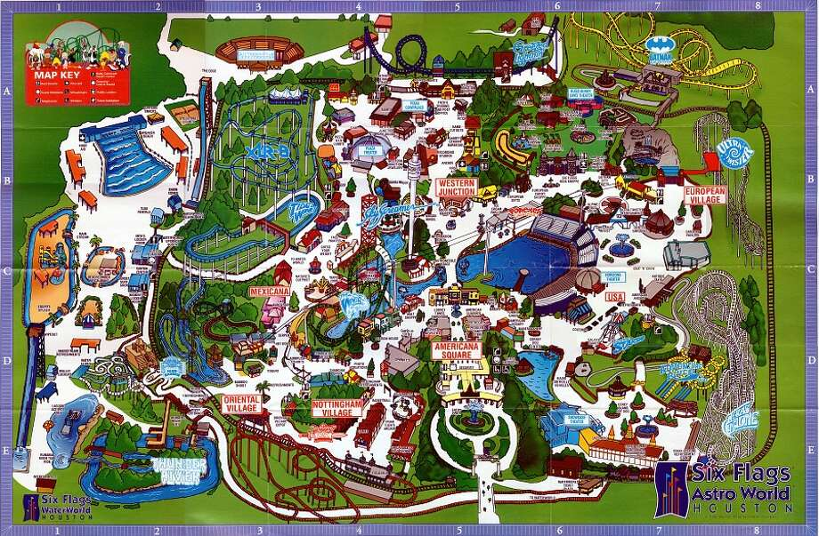 An AstroWorld/WaterWorld map from 1995 is shown. Photo: Houston Chronicle