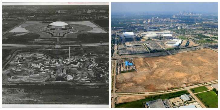 An aerial view of the complex in 1968 in the middle of construction and a view of the grounds in May 2006 after everything had been cleared away.
