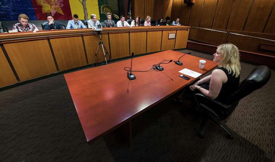 "Julie Marlette of the NYS School Boards Association ""testifies"" in front of students from various counties within the Assembly District of Angelo Santabarbara as they take the positions of Assemblymen and women as they run a ""hearing"" on the effect of untethering standardized tests from teacher evaluations at the Legislative Office Building Thursday May 31, 2018 in Albany, N.Y.  (Skip Dickstein/Times Union) Photo: SKIP DICKSTEIN, Albany Times Union / 20043954A"