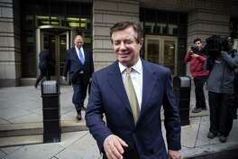 Paul Manafort, former campaign manager for Donald Trump, exits from federal court in Washington on April 19, 2018.