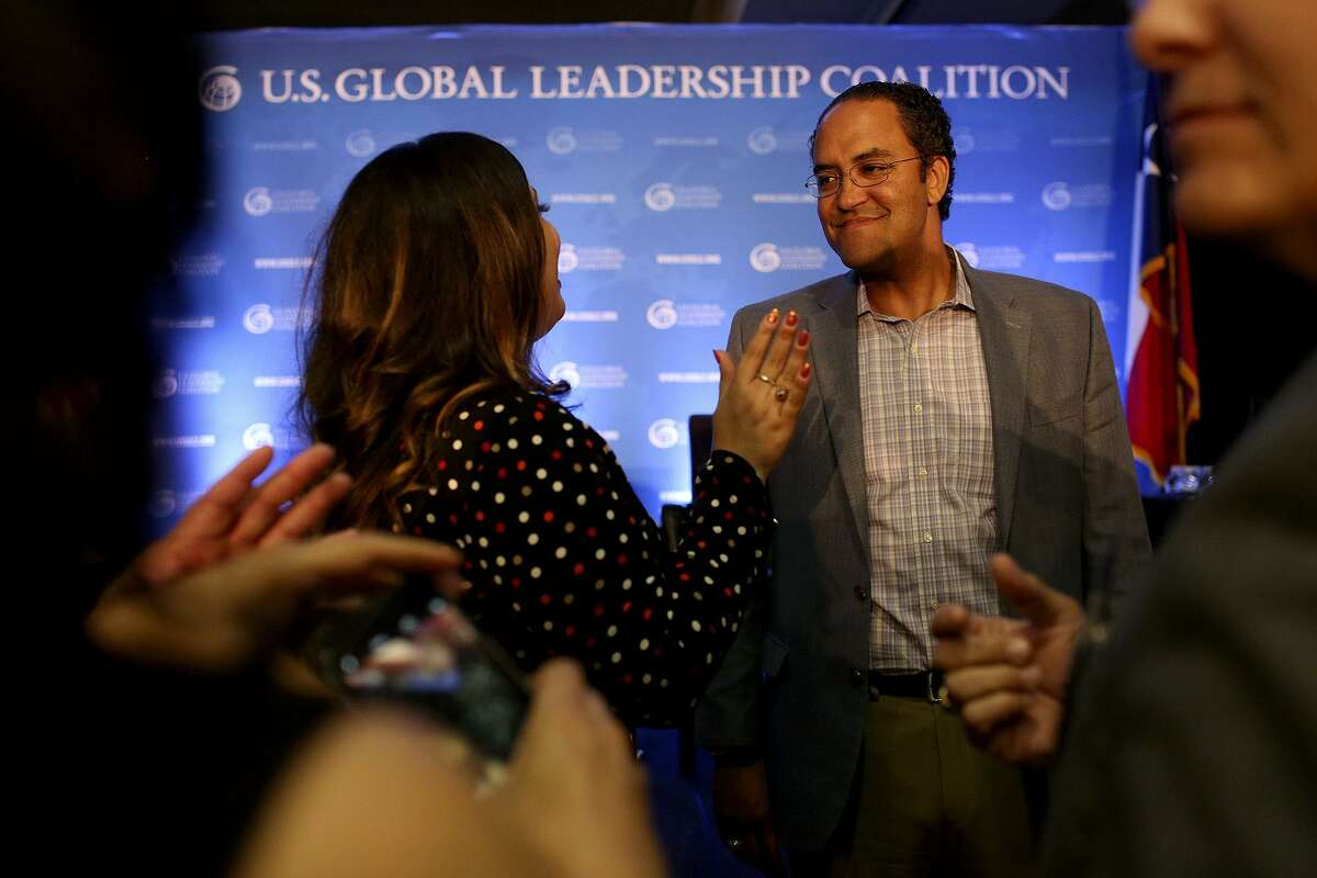 U.S. Rep. Will Hurd talks with attendees after participating in a Foreign Policy Forum on U.S. national security and Texas jobs held May 31. He has yet to announce his totals for the second quarter of 2018, though he reported $1.6 million cash on hand through March,