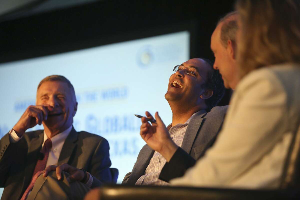 U.S. Representative Will Hurd, center, laughs during a Foreign Policy Forum on U.S. National Security and Texas Jobs hosted by the U.S. Global Leadership Coalition at the Marriott San Antonio Riverwalk on Thursday, May 31, 2018. Also participating in the forum are General Michael Hagee, USMC (Ret.), from left, Jason Gross, Executive Director U.S. Global Leadership Coalition, and Sarah Thorn, Senior Director, Global Government Affairs, Walmart.