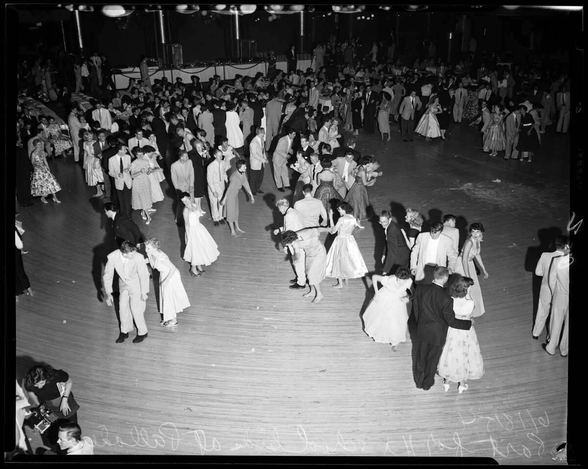 High school students dance at a 1954 party in Southern California. No rock and roll edicts were issued at this dance.